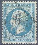 France : 20c bleu Napoléon III dentelé