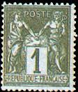 France : 1c noir sur azuré type Sage N sous U