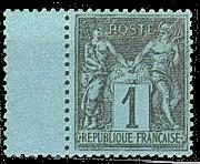 France : 1c noir sur bleu de Prusse type Sage N sous U
