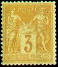 France : 3c bistre-jaune type Sage N sous U
