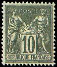 France : 10c noir sur lilas type Sage N sous U