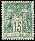 France : 15c bleu type Sage N sous U