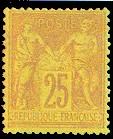 France : 25c jaune clair type Sage N sous U