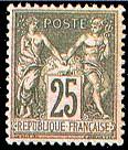 France : 25c noir sur rose type Sage N sous U